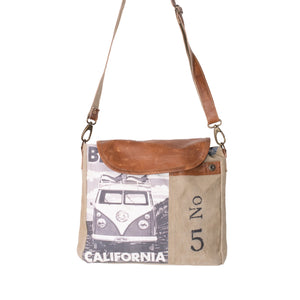 'Camper Van' Upcycled Canvas Flapover Cross Body Bag