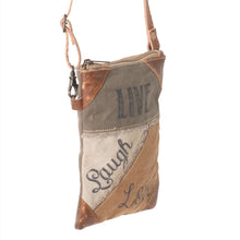 Load image into Gallery viewer, 'Live, Laugh, Love' Upcycled Canvas Compact Cross Body Bag