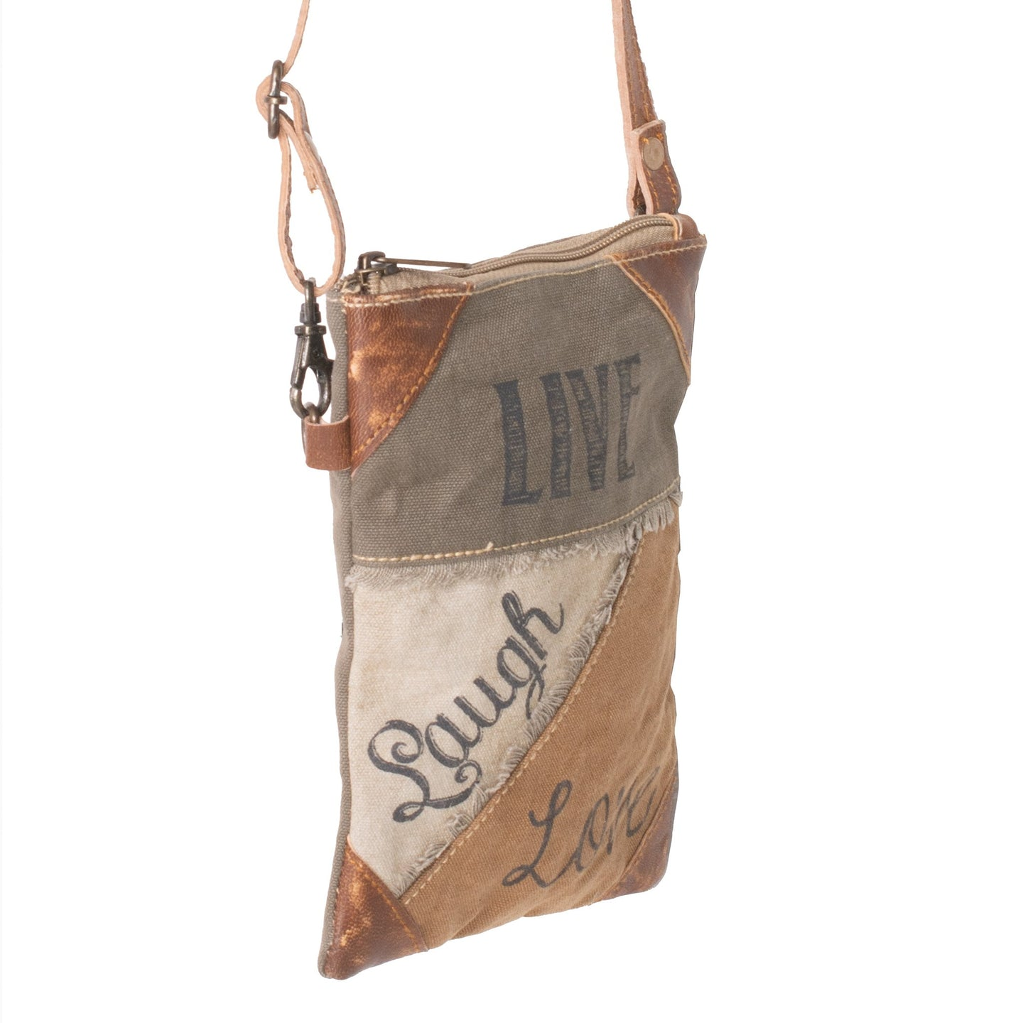 'Live, Laugh, Love' Upcycled Canvas Compact Cross Body Bag