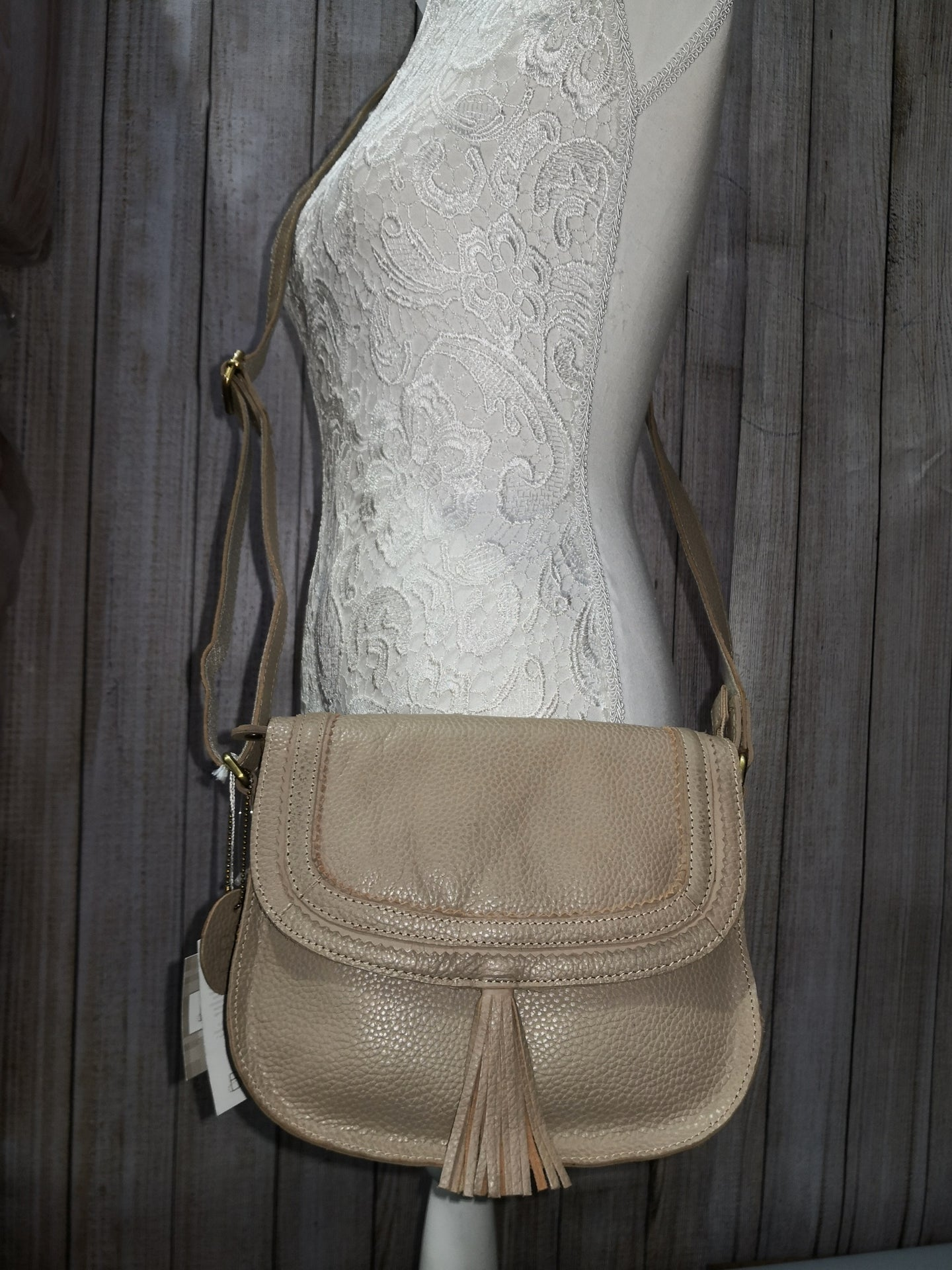 Stone (dark beige) Leather Cross Body Bag