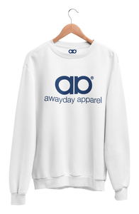 Awayday Sweater - White (Navy logo)