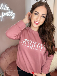 Motivated By Dogs And Coffee Babe Crewneck