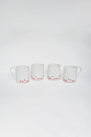 Silver Hyacinth Coffee Mugs - Set of 4