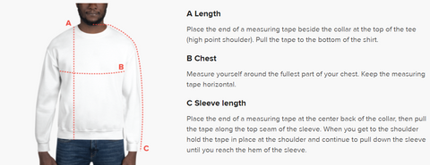 sweatshirt sizing. shows measurements for length, chest, and sleeve length.
