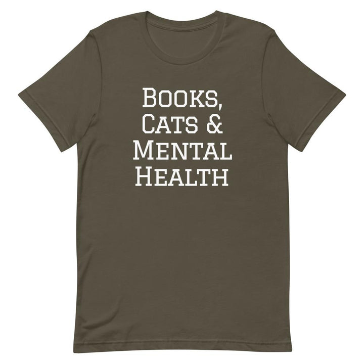 Books, Cats & Mental Health T-Shirt