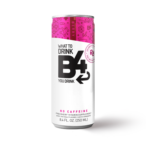 an 8.4 oz can of berry flavored B4 precovery drink
