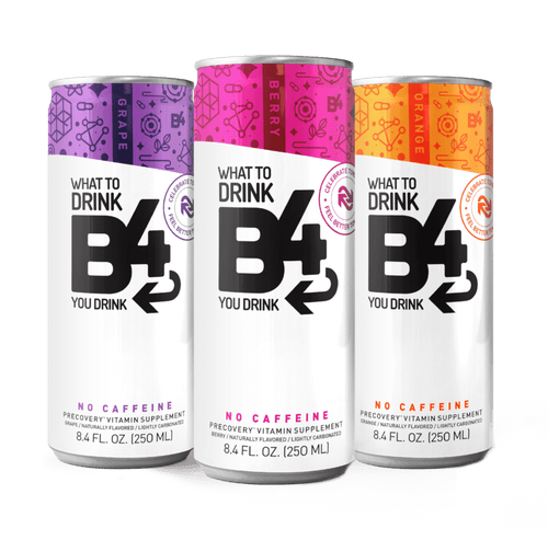 three 8.4 oz cans of berry, grape, and orange flavored B4 precovery drink