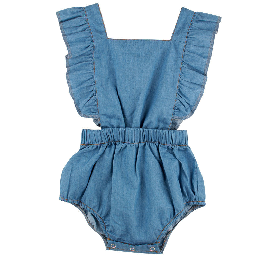 Ruffle Back Romper - Chambray