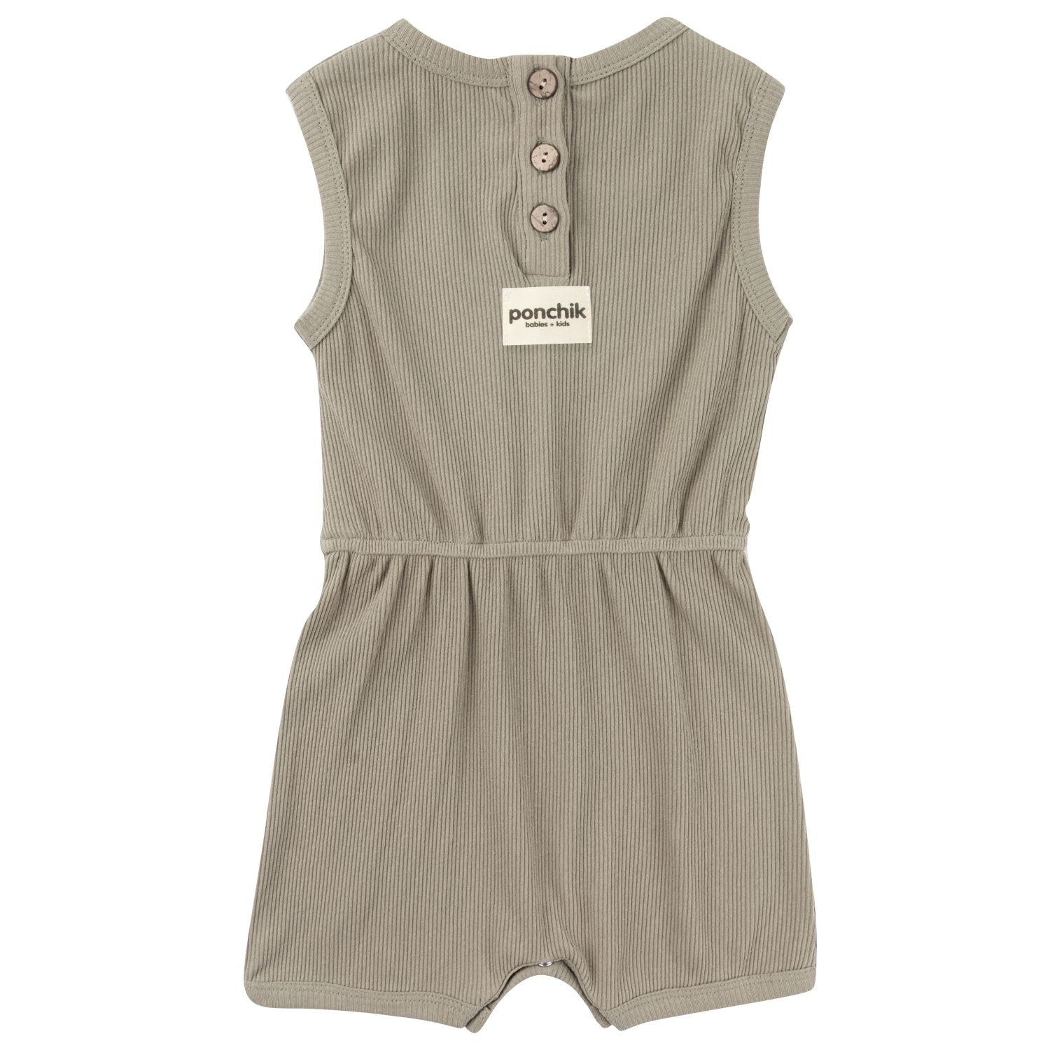 Ribbed Cotton Romper - Sage