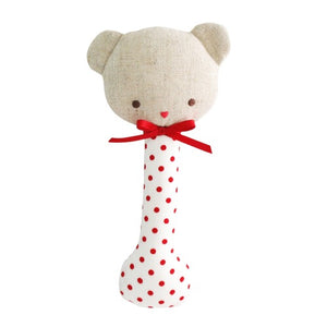 Baby Bear Stick Rattle - Red Spot