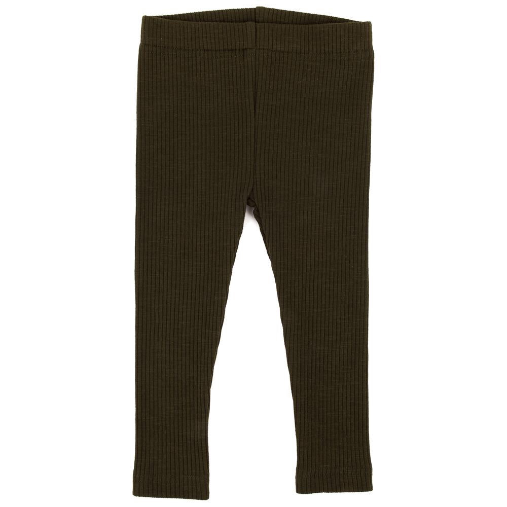 Cotton Ribbed Leggings - Moss Green