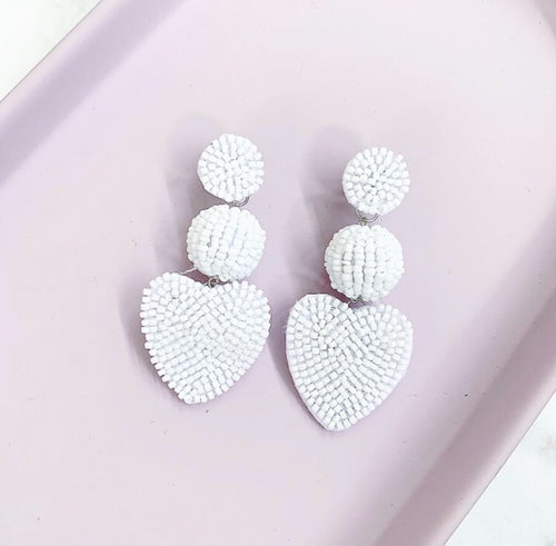 Belle White Drop Down Earrings