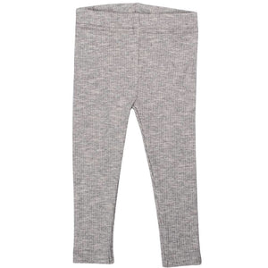 Cotton Ribbed Leggings - Pebble