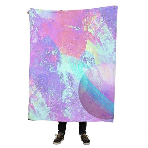 Saturn Pastel Aesthetic Throw Blanket