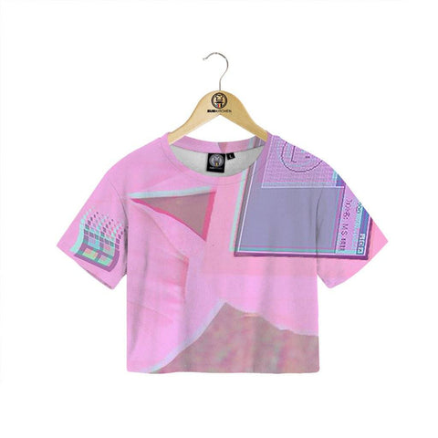 Digital Pink Crop Tee