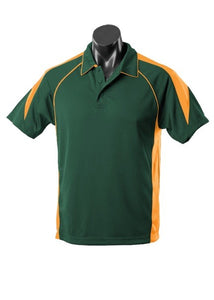 MENS PREMIER POLO STYLE 1301- Bottle Green/Gold