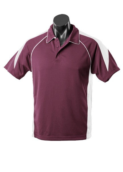 MENS PREMIER POLO STYLE 1301- Burgundy/White