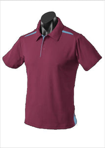 MENS PATERSON POLO STYLE 1305- Maroon/Sky