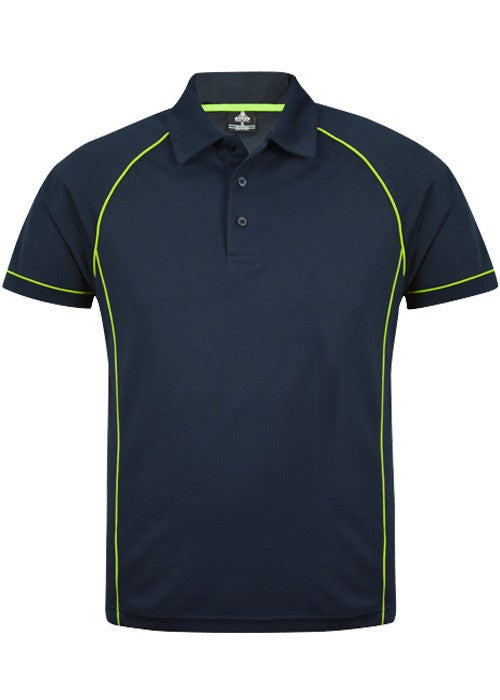 MENS ENDEAVOUR POLO STYLE 1310- Navy/Fluro Green
