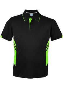 KIDS TASMAN POLO - Black/Neon Green STYLE 3311