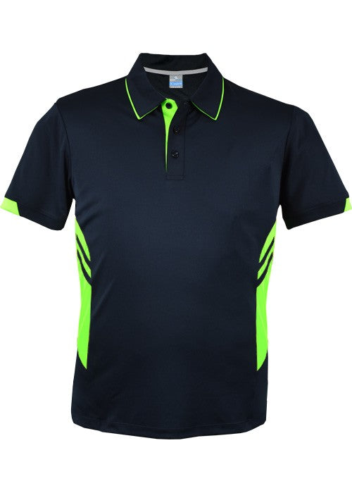 KIDS  TASMAN POLO - Navy/ Neon Green STYLE 3311