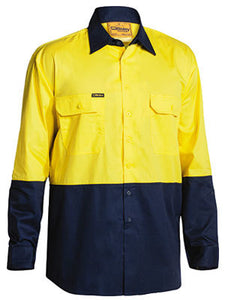 BISLEY -TWO TONE HI VIS COOL LIGHTWEIGHT DRILL SHIRT - LONG SLEEVE- BS6895