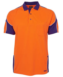 JB's HI VIS S/S ARM PANEL POLO- 6AP4S