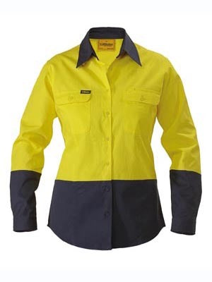 BISLEY-WOMENS TWO TONE HI VIS DRILL SHIRT - LONG SLEEVE-BL6267