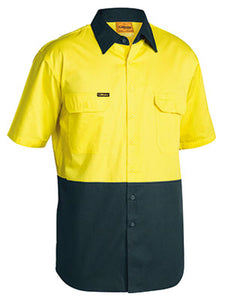 BISLEY-TWO TONE HI VIS COOL LIGHTWEIGHT DRILL SHIRT - SHORT SLEEVE-BS1895