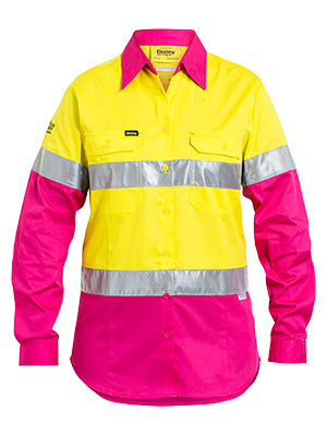 BISLEY-3M TAPED HI VIS COOL LIGHTWEIGHT SHIRT - LONG SLEEVE-BS6696T