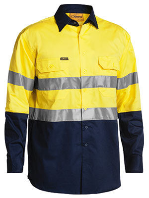 BISLEY-3M TAPED TWO TONE HI VIS COOL LIGHTWEIGHT - SHIRT - LONG SLEEVE-BS6896