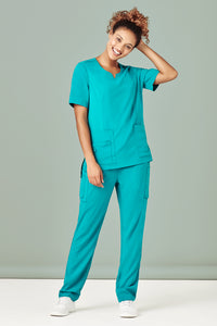 Biz Care Womens Tailored Fit Round Neck Scrub Top- CST942LS