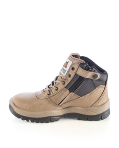 Mongrel Work Boot-Steel Toe Safety-Zip Sider- Stone- 261060