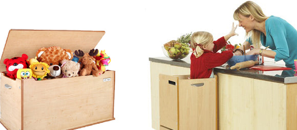 Kids furniture - Little Helper FunPod Learning Tower Kitchen Step and wooden toy boxes, ottomans or blanket boxes