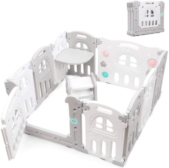 This fresh modern playpen has 10 removable panels making it very versatile in design and size.
