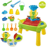 16 accessories are included with this kids sand and water table including water wheel, sand moulds, watering can and tools.