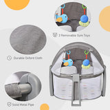 Mesh panels are included on this travel cot cum playpen for good air circulation