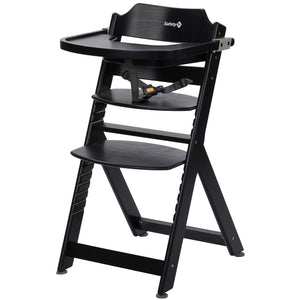 3-in-1 Adjustable Height Black Wooden Highchair & Tray