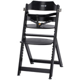 3-in-1 Adjustable Height Black Wooden Highchair & Safety Harness