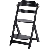 3-in-1 Adjustable Height Black Wooden Highchair & Junior Chair