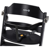 3-in-1 Adjustable Height Black Wooden Highchair & Safety Bar
