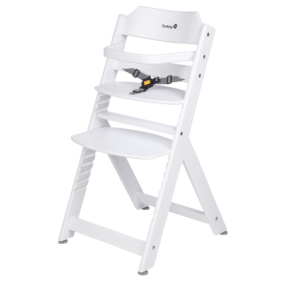 3-in-1 Adjustable Height White Wooden Highchair & Removable Tray & Safety Bar & Safety Harness