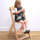 Adjustable Natural Wooden Highchair & Footrest