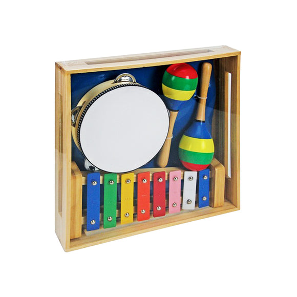 This super colourful toddler instrument set comes in a wooden storage box and contains tambourine, xylophone and maracas.