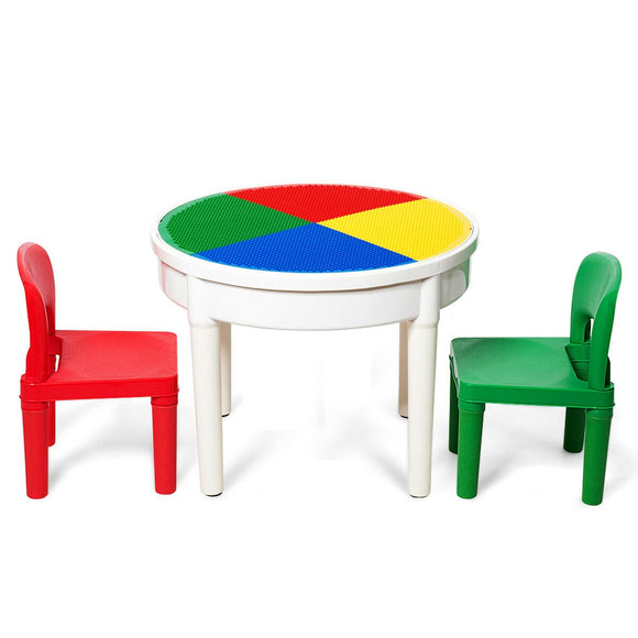 This colourful and multi-purpose table and 2 chairs set is ideal for young children to sit at and enjoy play, arts & crafts.