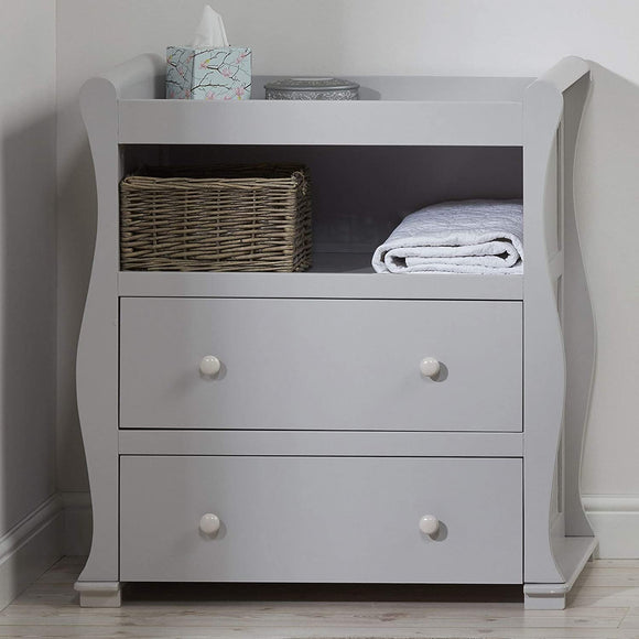 grey wooden baby changing unit with storage draws for you to be organised during nappy changes
