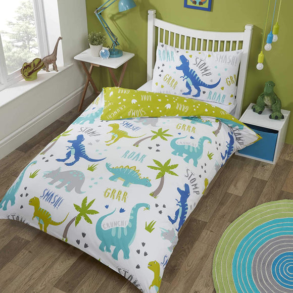 From roaring to snoring, this bold dinosaur Toddler Bedding makes bedtime brighter.