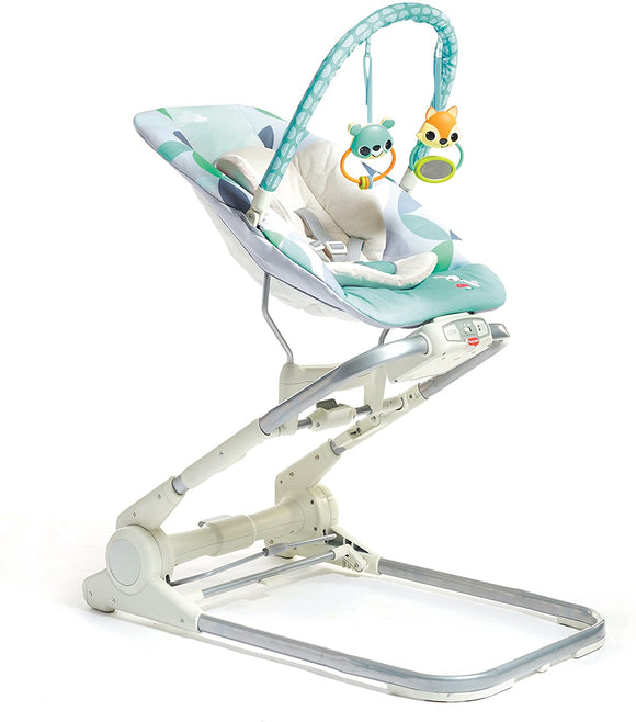 From sofa to dining table, our 'Friends in the forest' baby bouncer is height-adjustable