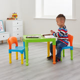 This super colourful multi purpose table and 2 chairs set is ideal for young children to sit at and enjoy play, arts & crafts activities