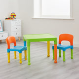 Children's Indoor & Outdoor Solid Plastic Easy Clean Table & 2 Chairs Set | Multicoloured